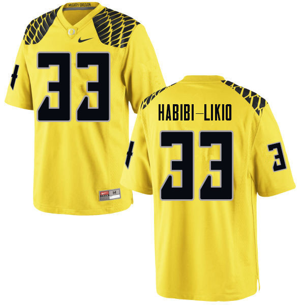 Men #33 Cyrus Habibi-Likio Oregn Ducks College Football Jerseys Sale-Yellow