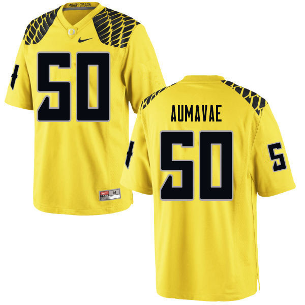 Men #50 Popo Aumavae Oregn Ducks College Football Jerseys Sale-Yellow