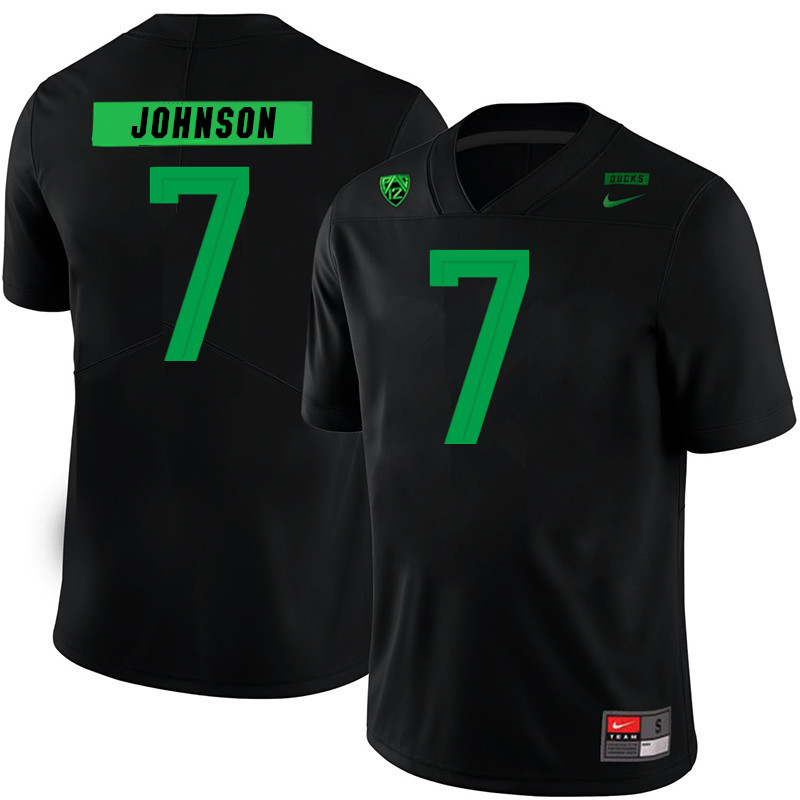 2019 Men #7 D.J. Johnson Oregon Ducks College Football Jerseys Sale-Black